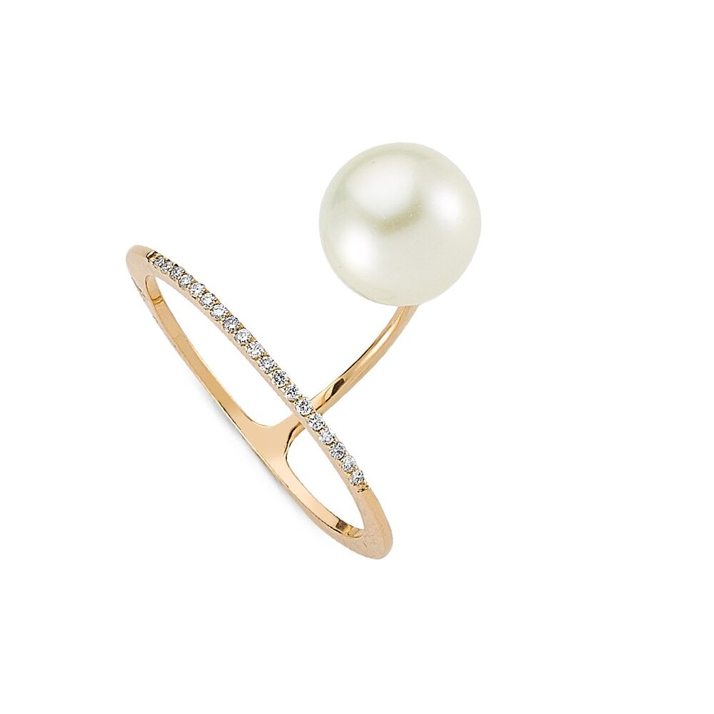 OWN Your Story Overture Pearl Ring with Diamonds