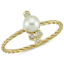 Load image into Gallery viewer, OWN Your Story 14K Gold Nirvana Diamond and Pearl Cable Ring