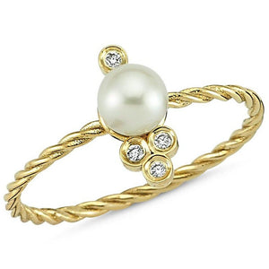 OWN Your Story 14K Gold Nirvana Diamond and Pearl Cable Ring