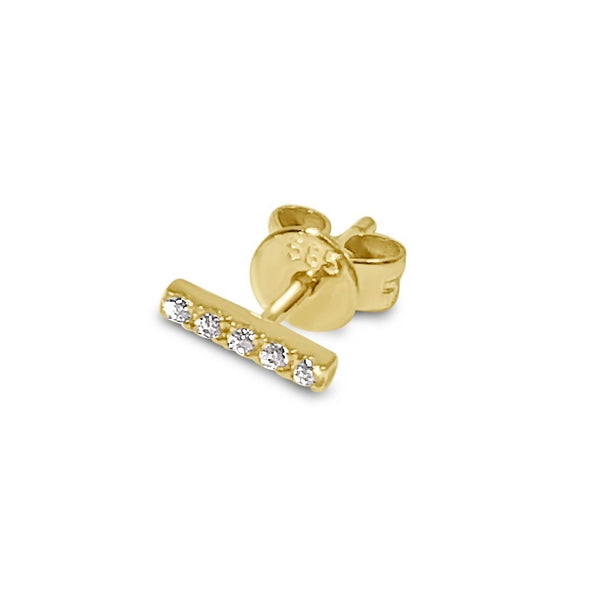 Atelier All Day 14K Gold & CZ Bar Stud Earring - Single