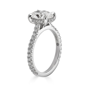 Labyrinth Diamonds 14K Gold Hidden Halo Oval French Pave Solitaire Ring - Oval