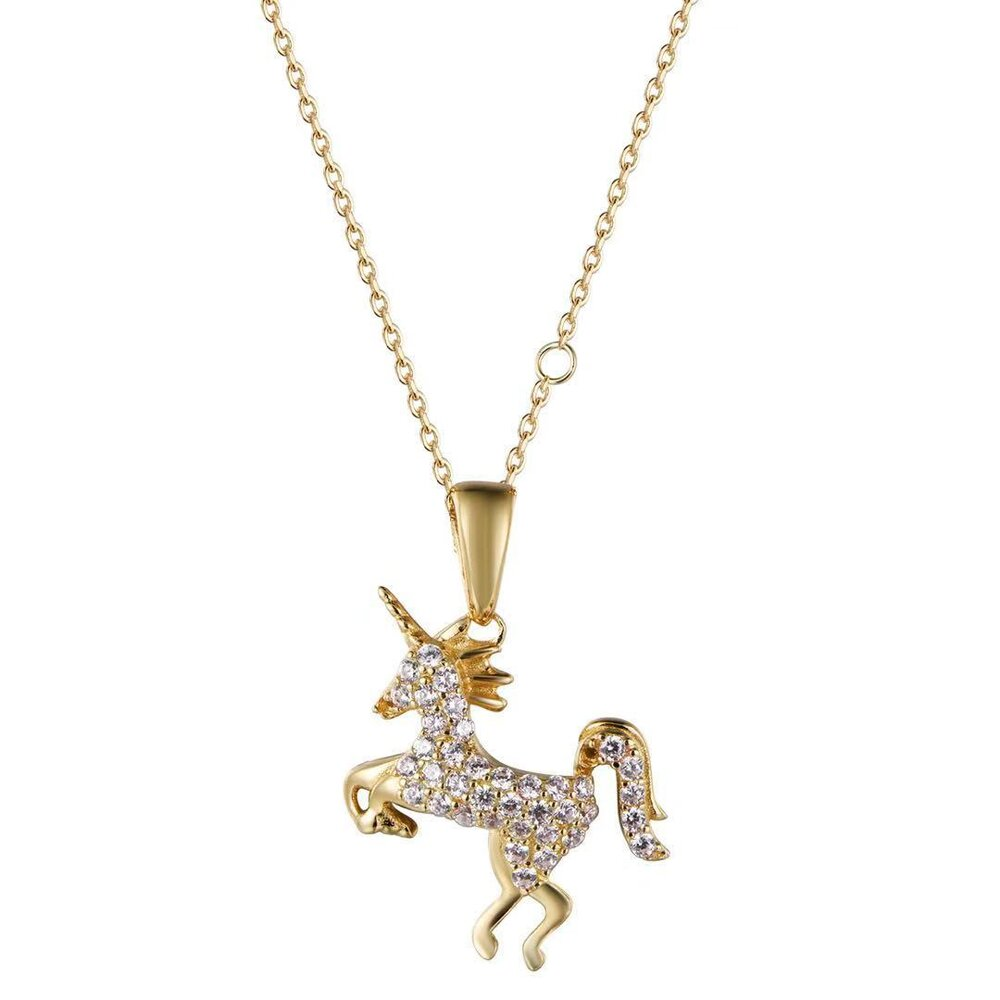 Atelier All Day 14K Gold Vermeil & CZ Mystical Unicorn Pendant