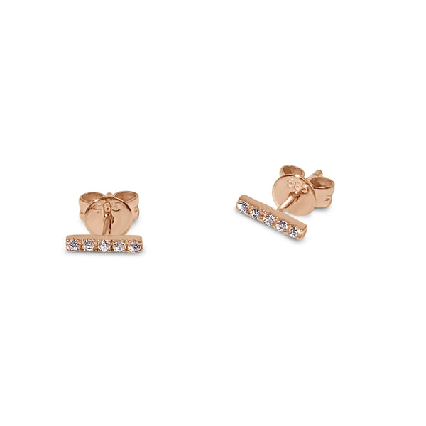 Atelier All Day 14K Gold & CZ Bar Stud Earrings