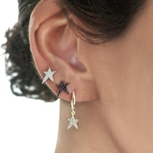 Load image into Gallery viewer, OWN Your Story Rock Star Huggie Hoop Earrings with White Diamonds