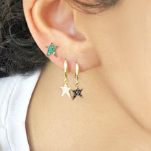 Load image into Gallery viewer, OWN Your Story Rock Star Huggie Hoop Earrings with Black Diamonds