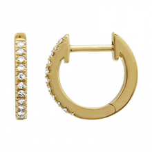 Load image into Gallery viewer, Anné Gangel Small Diamond Yellow Gold Huggie Hoops
