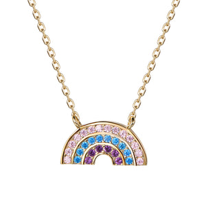 Atelier All Day 14K Gold Vermeil & CZ Pastel Rainbow Pendant