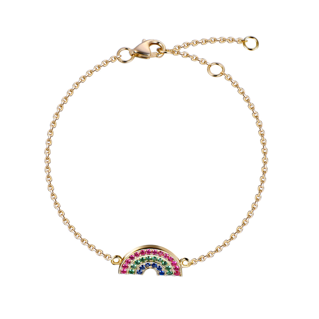 Atelier All Day 14K Gold Vermeil #RAINBOWHUNT Bracelet with Rainbow CZs, benefitting No Kid Hungry