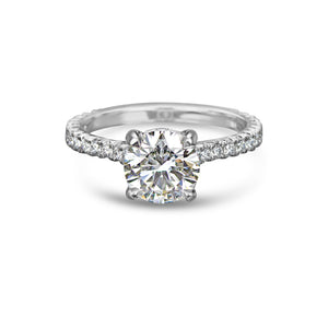 Labyrinth Diamonds Hidden Halo Round French Pave Solitaire Ring - Round