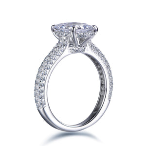 Labyrinth Diamonds Hidden Halo Solitaire Diamond Ring with Pave Band - Assher