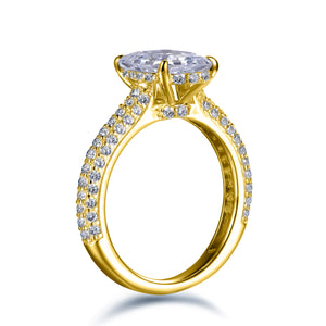 Labyrinth Diamonds 14K Gold Hidden Halo Solitaire Diamond Ring with Pave Band - Asscher