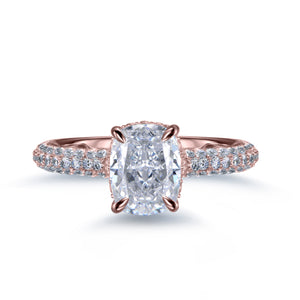 Labyrinth Diamonds 14K Gold Hidden Halo Solitaire Diamond Ring with Pave Band - Cushion