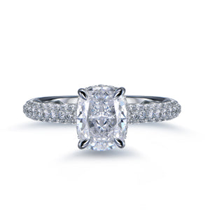 Labyrinth Diamonds Hidden Halo Solitaire Diamond Ring with Pave Band - Cushion