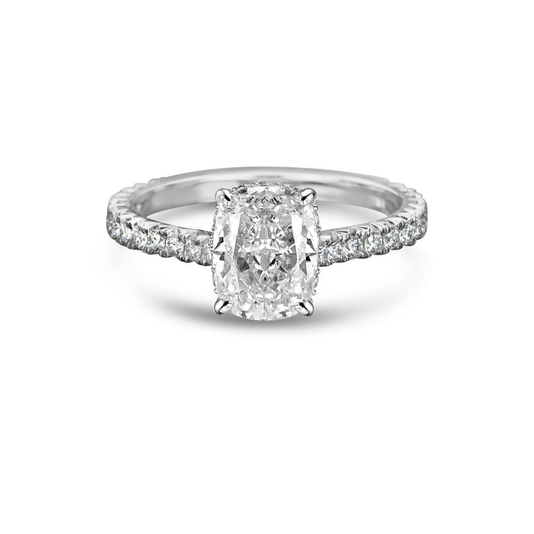 Labyrinth Diamonds Hidden Halo Cushion French Pave Solitaire Ring - Cushion