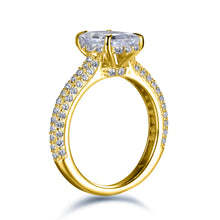Load image into Gallery viewer, Labyrinth Diamonds 14K Gold Hidden Halo Solitaire Diamond Ring with Pave Band - Cushion