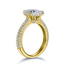 Load image into Gallery viewer, Labyrinth Diamonds 14K Gold Hidden Halo Solitaire Diamond Ring with Pave Band - Emerald