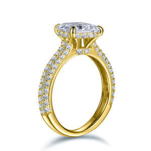 Labyrinth Diamonds 14K Gold Hidden Halo Solitaire Diamond Ring with Pave Band - Emerald