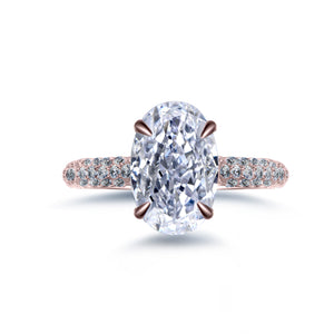 Labyrinth Diamonds 14K Rose Gold Hidden Halo Solitaire Diamond Ring with Pave Band Oval