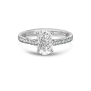 Labyrinth Diamonds 14K White Gold Hidden Halo Solitaire Diamond Ring with Pave Band Oval
