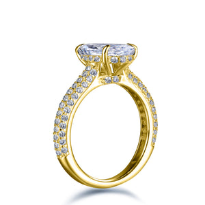 Labyrinth Diamonds 14K Yellow Gold Hidden Halo Solitaire Diamond Ring with Pave Band Oval