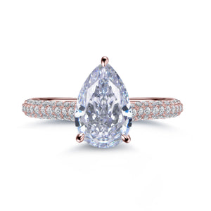 Labyrinth Diamonds 14K Gold Hidden Halo Solitaire Diamond Ring with Pave Band - Pear