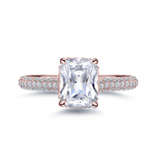 Load image into Gallery viewer, Labyrinth Diamonds 14K Gold Hidden Halo Solitaire Diamond Ring with Pave Band - Radiant