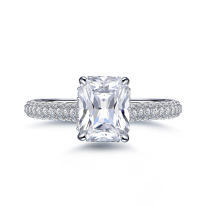 Labyrinth Diamonds Hidden Halo Solitaire Diamond Ring with Pave Band - Radiant