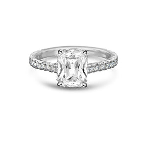 Labyrinth Diamonds Hidden Halo Radiant French Pave Solitaire Ring - Radiant