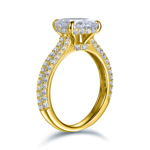 Labyrinth Diamonds 14K Gold Hidden Halo Solitaire Diamond Ring with Pave Band - Radiant
