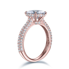 Load image into Gallery viewer, Labyrinth Diamonds 14K Rose Gold Hidden Halo Solitaire Diamond Ring with Pave Band - Round