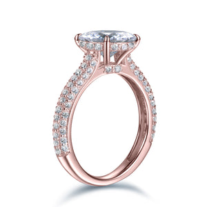 Labyrinth Diamonds 14K Rose Gold Hidden Halo Solitaire Diamond Ring with Pave Band - Round