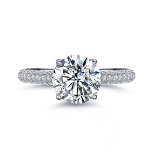 Labyrinth Diamonds Hidden Halo Solitaire Diamond Ring with Pave Band - Round