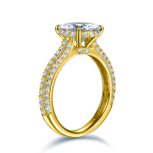 Load image into Gallery viewer, Labyrinth Diamonds 14K Yellow Gold Hidden Halo Solitaire Diamond Ring with Pave Band - Round