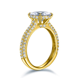 Labyrinth Diamonds 14K Yellow Gold Hidden Halo Solitaire Diamond Ring with Pave Band - Round