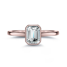 Load image into Gallery viewer, Labyrinth Diamonds Bezel Set 14K Rose Gold Solitaire Diamond Ring Emerald
