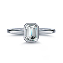 Load image into Gallery viewer, Labyrinth Diamonds Bezel Set 14K White Gold Solitaire Diamond Ring Emerald