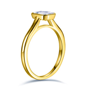 Labyrinth Diamonds Bezel Set 14K Yellow Gold Solitaire Diamond Ring Emerald