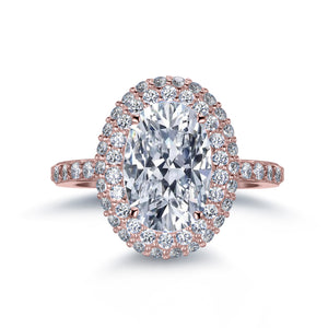 Labyrinth Diamonds 14K Rose Gold Classic Oval Halo Diamond (Semi-Mount)
