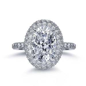 Labyrinth Diamonds 14K White Gold Classic Oval Halo Diamond (Semi-Mount)