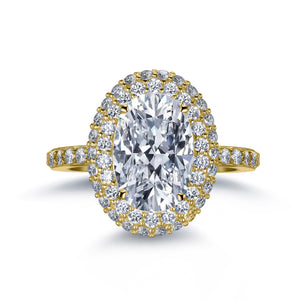Labyrinth Diamonds 14K Yellow Gold Classic Oval Halo Diamond (Semi-Mount)