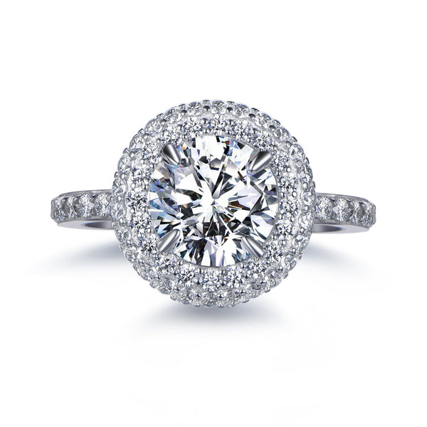 Labyrinth Diamonds 14K White Gold Classic Round Halo Diamond Ring (Semi-Mount)