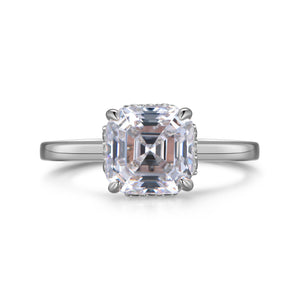 Labyrinth Diamonds Assher Hidden Halo Diamond Solitaire Ring