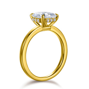 Labyrinth Diamonds Asscher Hidden Halo Lab Diamond Solitaire Ring in 14K Gold