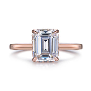 Labyrinth Diamonds 14K Rose Gold Emerald Hidden Halo Diamond Solitaire Ring