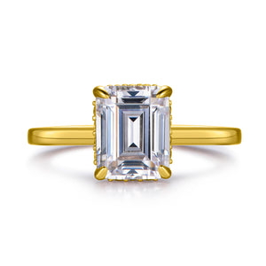 Labyrinth Diamonds 14K Yellow Gold Emerald Hidden Halo Diamond Solitaire Ring