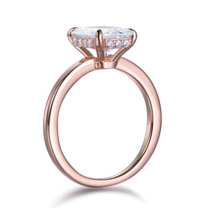 Labyrinth Diamonds 14K Rose Gold Round Hidden Halo Diamond Solitaire Ring