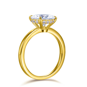 Labyrinth Diamonds 14K Yellow Gold Round Hidden Halo Diamond Solitaire Ring