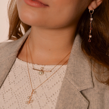 Load image into Gallery viewer, OWN Your Story Pavé Bar Pearl Droplet Necklace