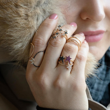 Load image into Gallery viewer, OWN Your Story Starburst Finger Climber Ring with Diamonds