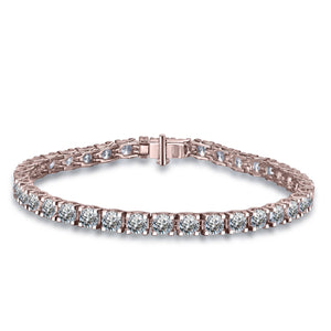 Labyrinth Diamonds 14K Rose Gold Classic One Line Tennis Bracelet Round